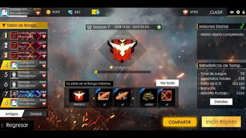subo cuentas a heroico (free fire)