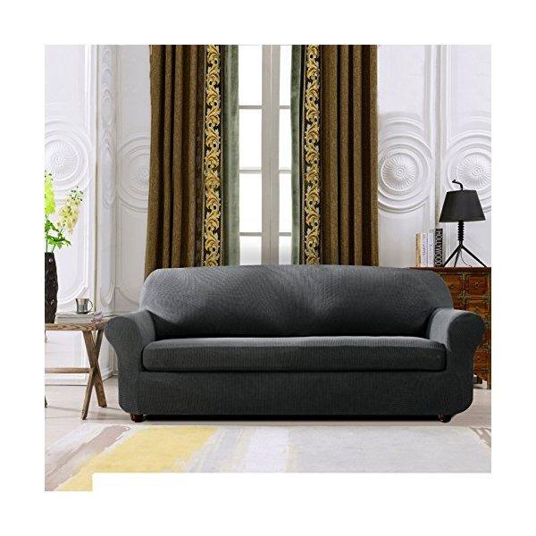 Subrtex 2 piece spandex stretch funda de sof sof gris for Fundas de sofa gris