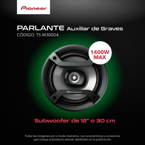 subwoofer pioneer ts-w300d4 12  doble bobina 400rms 1400w ce