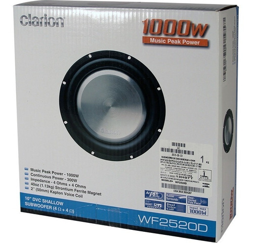 subwoofer plano clarion 1000 w 10'  wf2520d