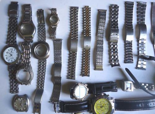 sucata relojoeiro 49 itens - pulseiras aço - relogios - outr