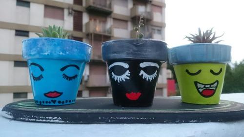 suculentas - macetas n7 decoras decoupage. souvenir