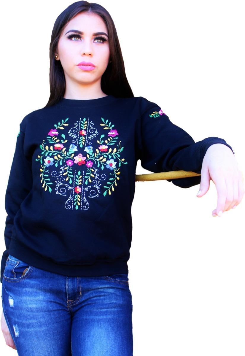 Sudadera Haydee Bordada Flores Mexicanas dxBorCe