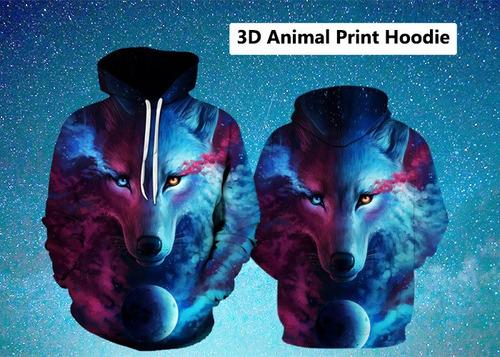 sudadera con capucha con capucha 3d trippy wolf print