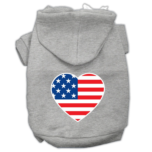 sudadera con capucha de impresión pantalla corazón bandera