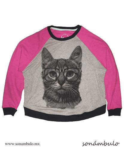 sudadera estampada gato (rosa)
