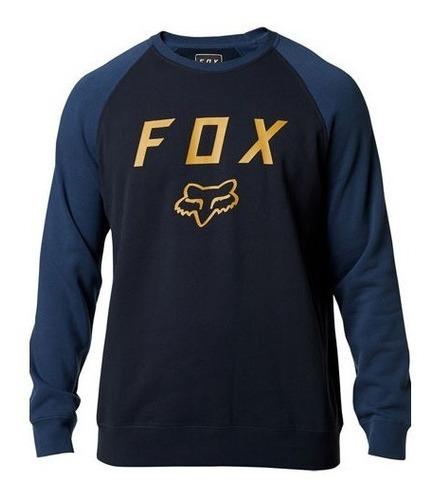 sudadera fox legacy crew azul/electrico casual