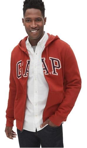 sudadera hombre hoodie abierta gorro cordón cierre logo gap