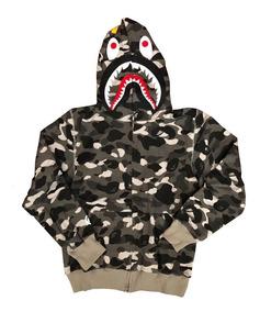 comprar online f3a89 be92c Sudadera, Hoodie Gris Bape Shark/cabeza De Tiburón