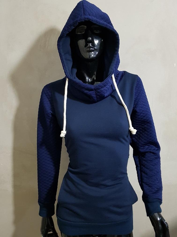 3aa198a288f3e Sudadera Larga Para Mujer Azul Marino -   299.00 en Mercado Libre