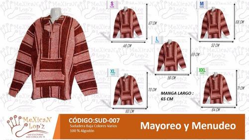 sudadera mexicana de algodon artesanal lote 12 piezas