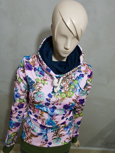 sudadera mujer flores colores juvenil cuello alto