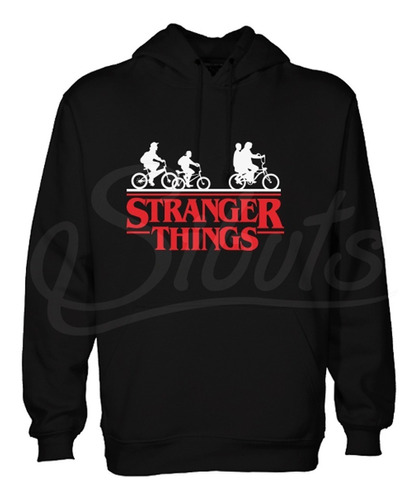 sudadera negra mujer gorro stranger things bicicleta