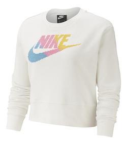 Sudadera Nike 30 W Nsw Ftr Fem Crew Flc Blanca Mujer 831051