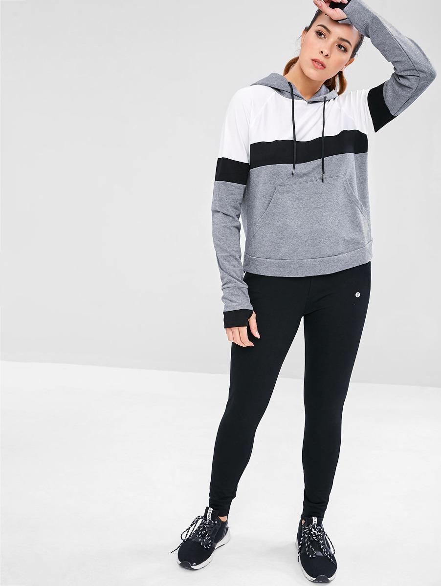 20d8501b9aeb sudadera ropa deportiva mujer básica con capucha de raya. Cargando zoom.