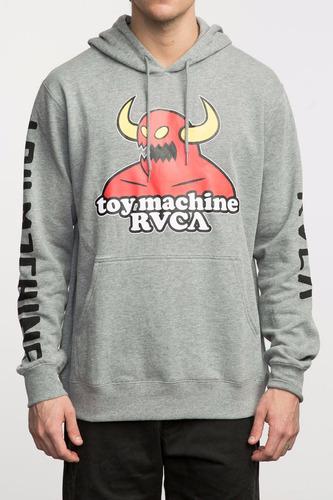 sudadera rvca x toy machine, mod. hoodie, colores ath y blk.