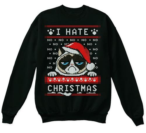 sudadera ugly sweater grumpy cat odio la navidad gato enojad
