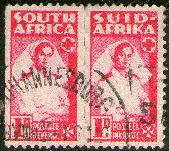sudáfrica par se-tenant bilingüe sanidad, enfermera año 1942