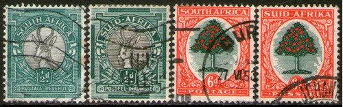 sudáfrica serie x 4 sellos usados antílope = naranjo 1937-38