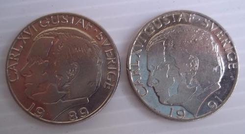 suecia 1 krona corona 1978 1979 1989 1991 km#852 y 852a c/u