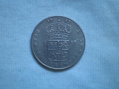 suecia 1 krona corona año 1973 moneda cuproníquel km# 826a