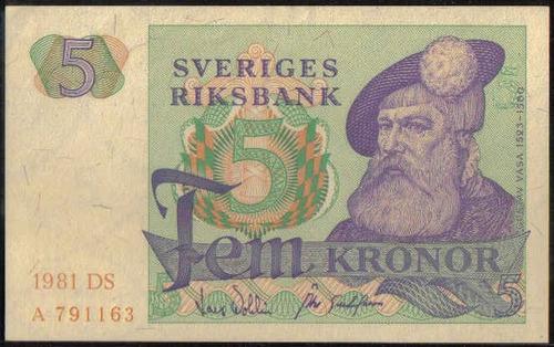 suecia 5 kronor 1981 p51d