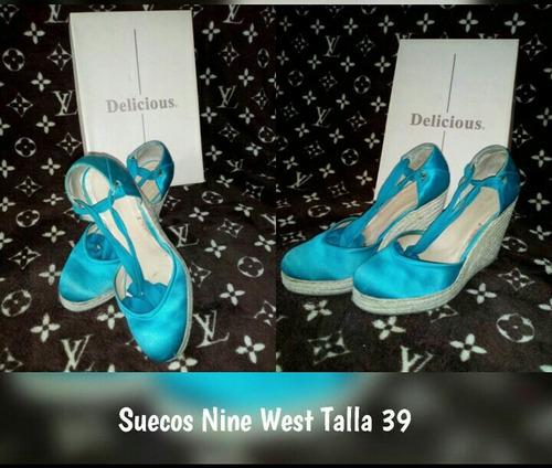 suecos nine west importados talla 38 en azul