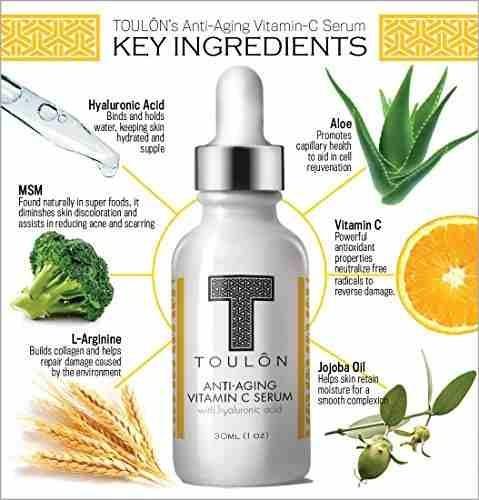 suero de vitamina c con ácido hialurónico para la cara;