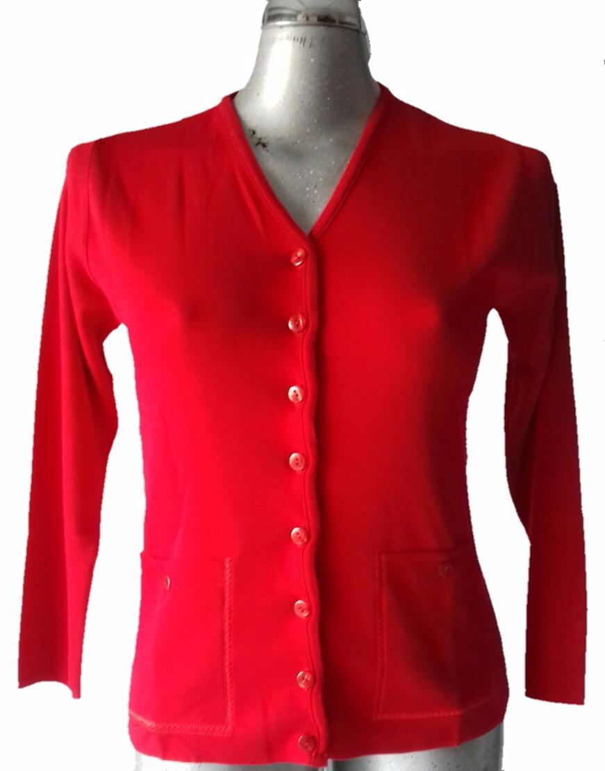 Sueter Abierto Botones Bolsas Rojo - $ 360.00 en Mercado Libre