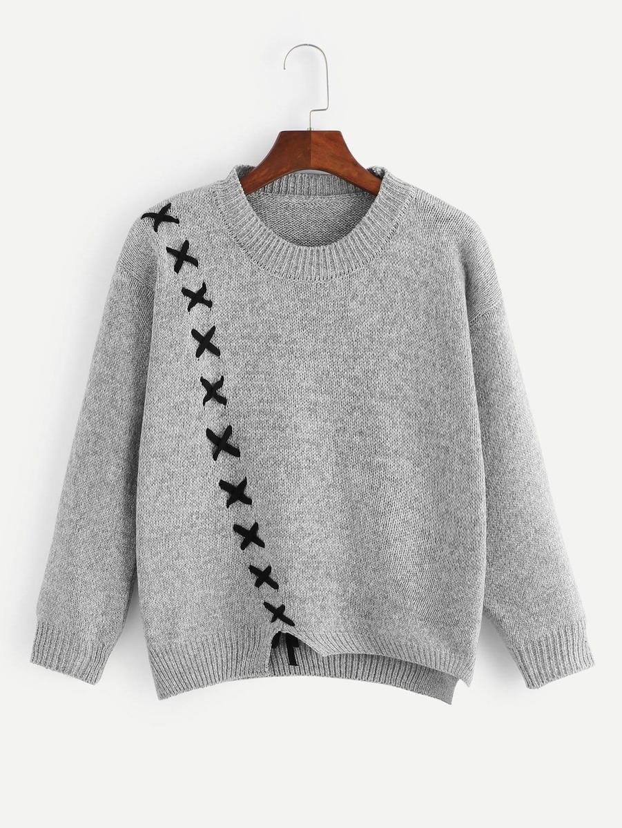 Suéter Asimétrico Con Cordón -   664.34 en Mercado Libre 9842d69e07a2