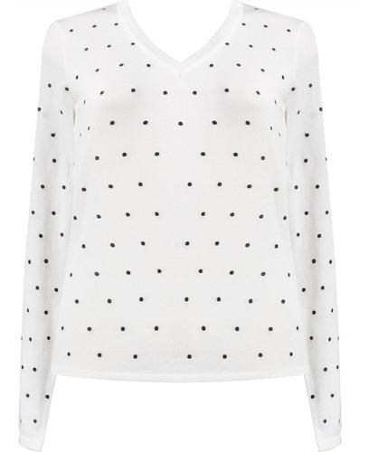 suéter básico em tricô com bolinhas decote v seiki 830327