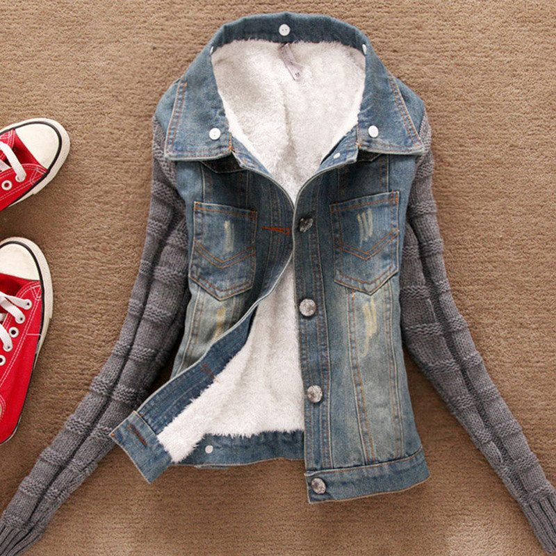 b99a4e4aa6 Jaqueta Feminino Casaco Jeans Suéter Pelo Cardigan Blusa Lã - R  292 ...