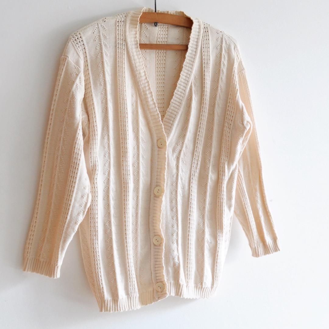 precio limitado muy genial gran venta Suéter Cardigan Hilo Algodon Tejido Calado Tm Vintage Retro - $ 790,00