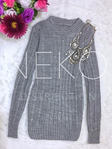 suéter con perlas tejido para dama
