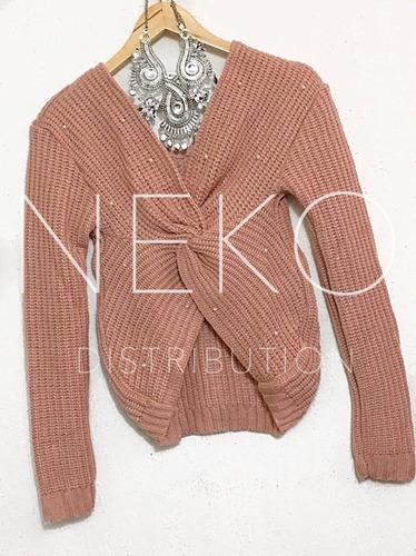 suéter cruzado moño con perlas para dama
