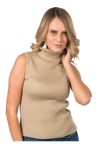 sueter dama blusa tejida sin manga cuello tortuga basico