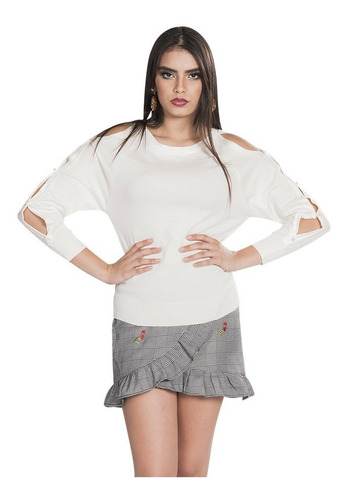 sueter dama sin hombros perlas sweater ligero o83201