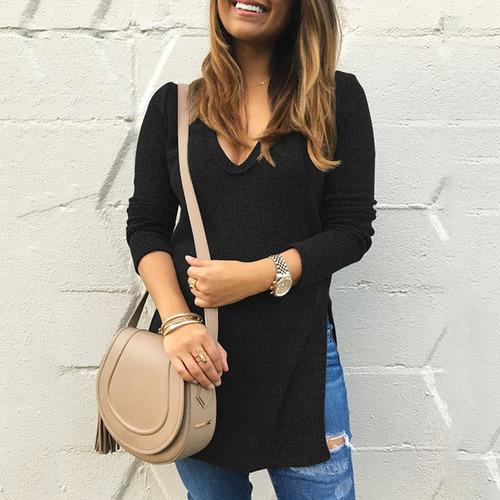 suéter de punto mujeres color sólido escote v profundo lad