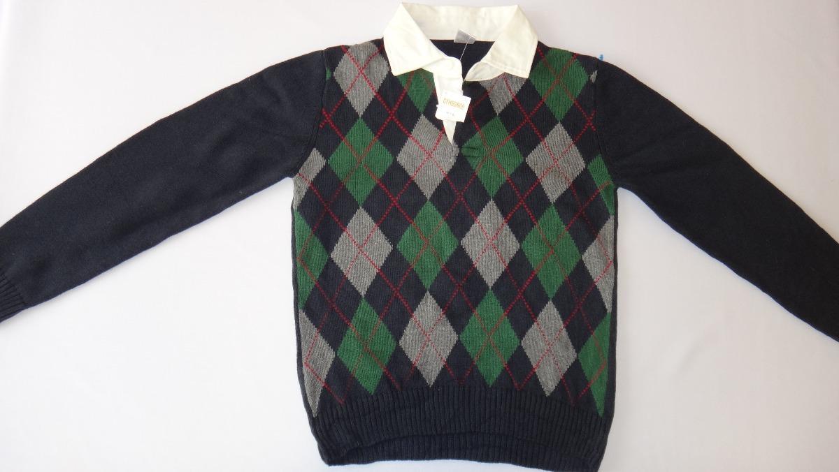 Suéter De Rombos Color Azul-verde-gris Talla 7-8 Años -   199.00 en ... 5ac6b993a7bf