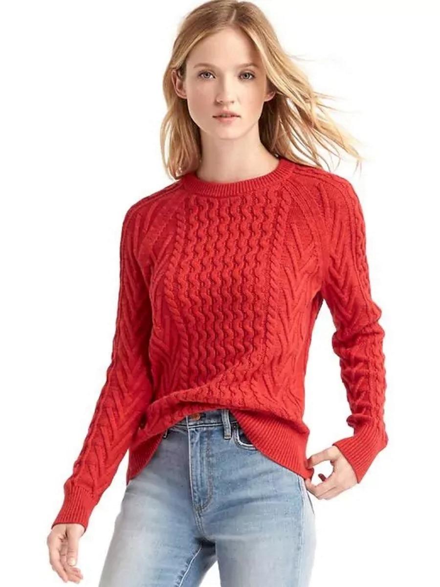 mujer l Cargando dama gap original larga zoom manga rojo talla sueter XOq6w d395df08aca4