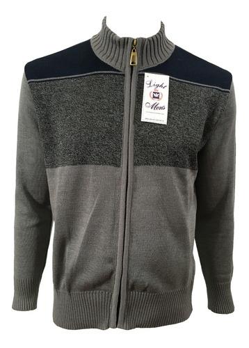 suéter gris con azul marino cierre completo