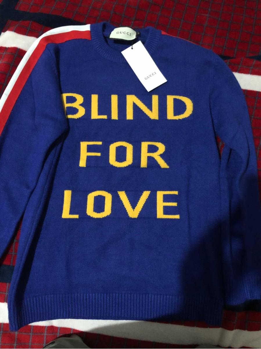 ef1b055f344b9 suéter gucci blind for love en color azul con tigre. Cargando zoom.