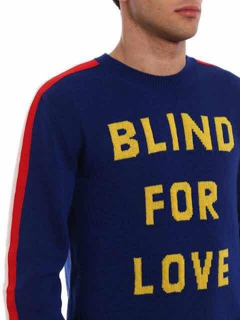 730110ccfaa4d Suéter Gucci blind For Love En Color Azul Con Tigre -   2