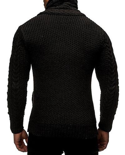 suéter hombre de cuello alto con botones abierta delandero