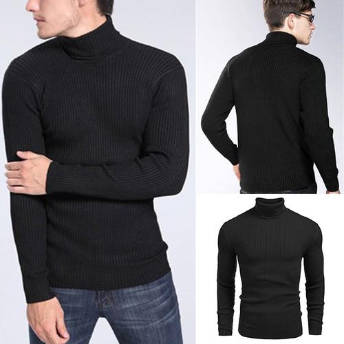 suéter hombres elástico ligero jersey cuello alto de punto
