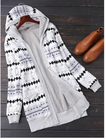 suéter largo con capucha y borreguita, gris