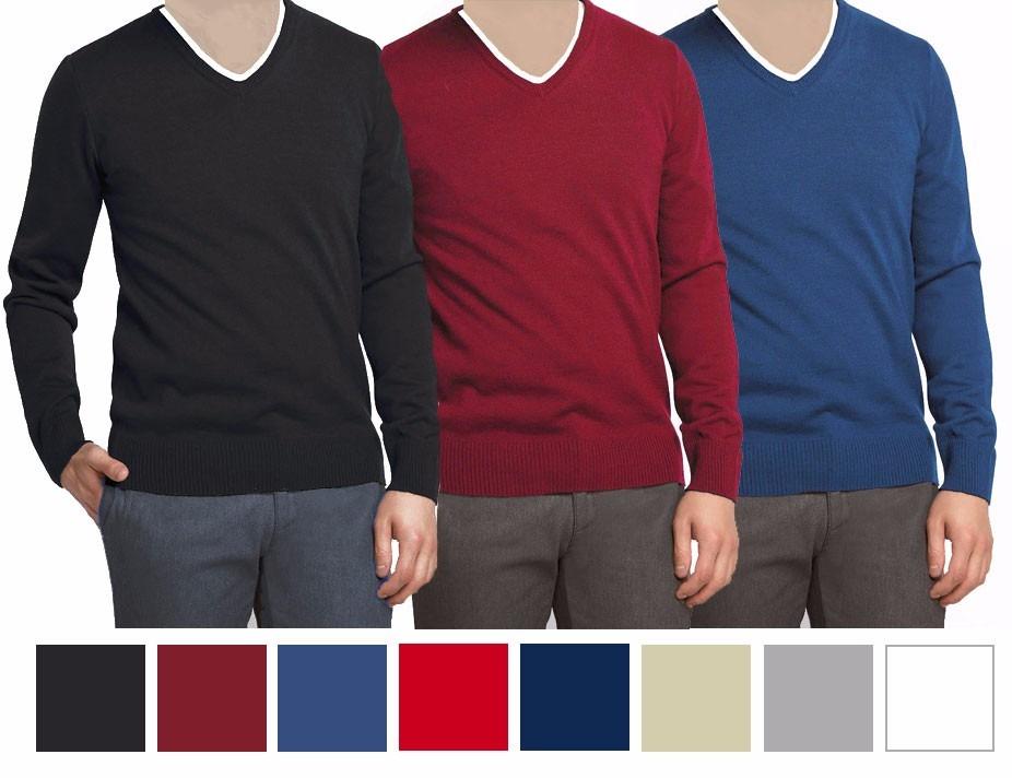 91792c63e9 sueter masculino gola v cores malha blusa estilo slim fit. Carregando zoom.
