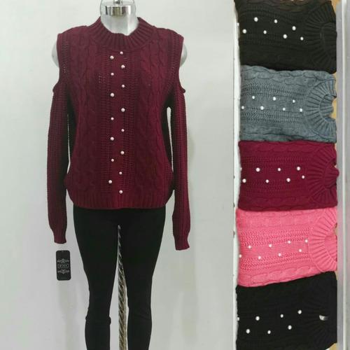 suéter moda 2018 invierno tejido sweater perla