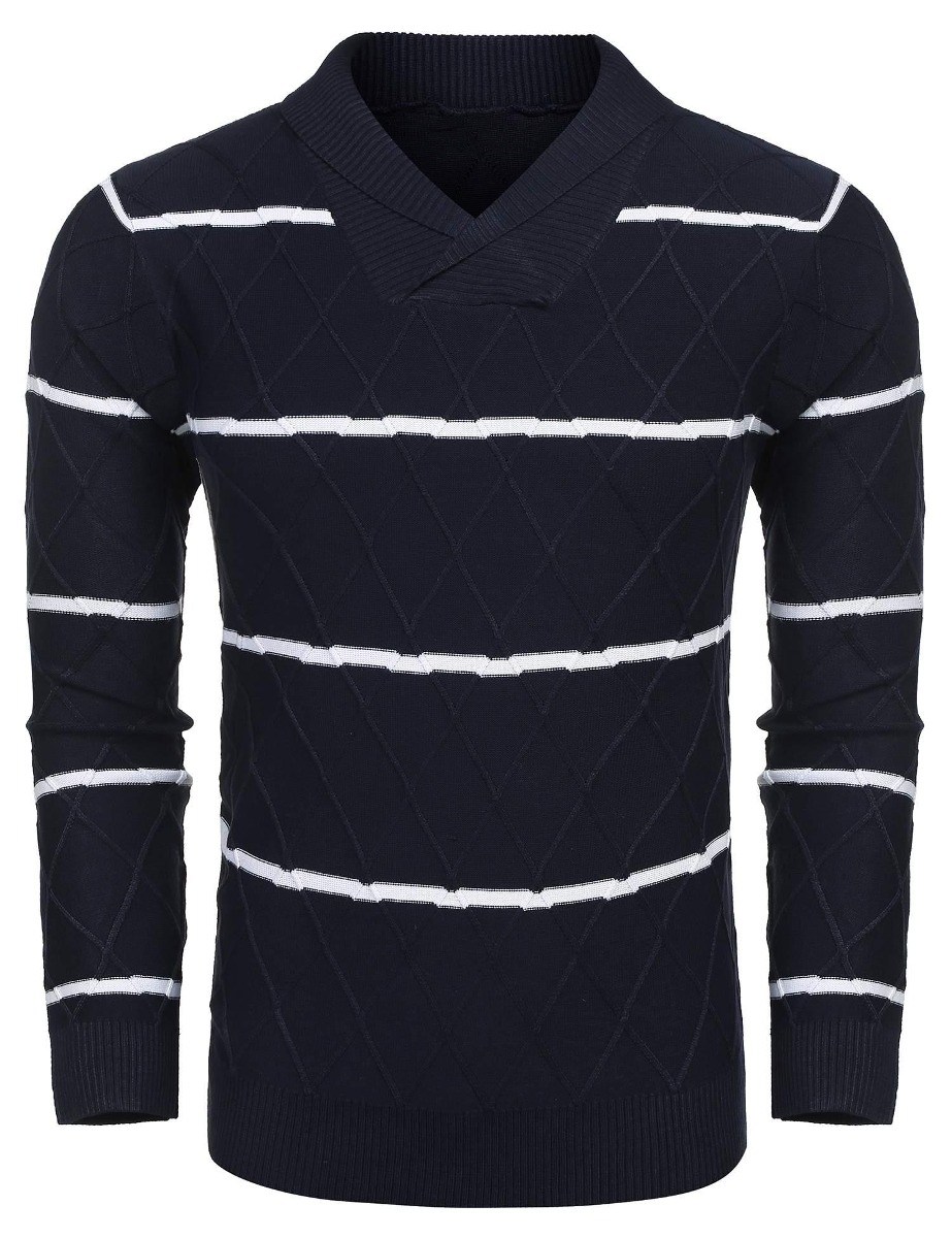efa75ab7670f suéter para hombre manga larga rayas jersey de punto suéter. Cargando zoom.