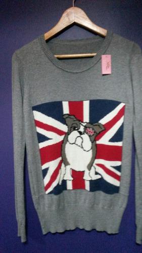 sueter pulover con bandera y perrito de cashmere